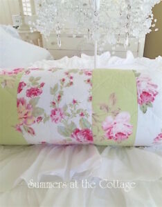 Pink Peony Vintage Roses Patchwork Quilted Bolster Neck Roll Pillow