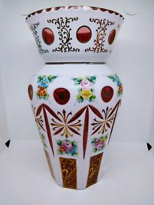 Bohemian-Czech-Moser-Mantle-Vase-Enameled-Overlay-Cut-to-Ruby-Cranberry-Roses