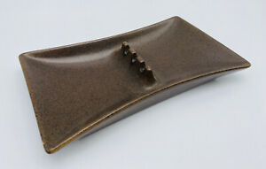 Vintage-Hyalyn-Ashtray-Retro-Mid-Century-Modern-Brown-Atomic-Speckled-Pottery