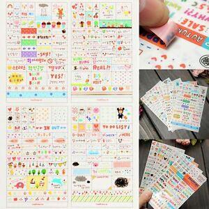 6-Blaetter-Papier-Aufkleber-Sticker-Scrapbook-Kalender-Tagebuch-Planer-Dekor-SO