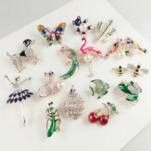 Lot-Cartoon-Little-Bee-Insect-Crystal-Rhinestone-Collar-Brooch-Pin-Women-Jewelry