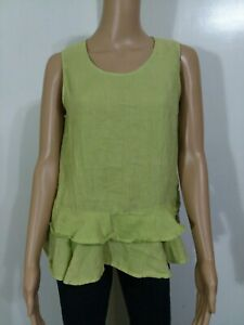 Match-Point-USA-Women-039-s-Olive-Green-Linen-Sleeveless-Ruffle-Hem-Sz-Small