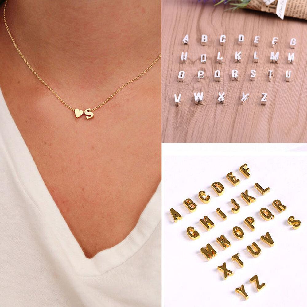 Mujer Collar De Cadena Gargantilla Colgante corazón 26 letras Joyería 2
