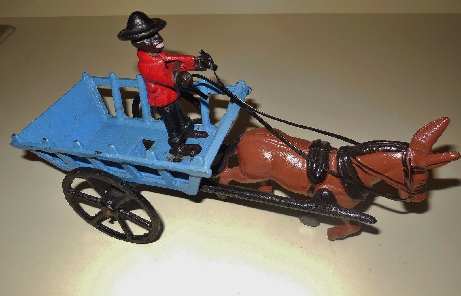 VINTAGE CAST IRON OLD SOUTHERN FARM HAY HORSE DRAWN WAGON FIGURINE SET LOT