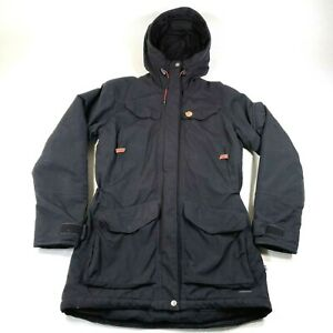 Fjallraven Nuuk Parka Jacket Coat Womens S Black Hooded Waterproof Hydratic