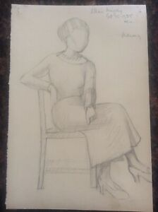 Signed-1935-Lillian-Mingay-Pencil-Drawing-Lady-Female-Figure-Portrait-24