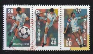 UNITED STATES 1994 FIFA WORLD CUP SE-TENANT COMP. SET 3 STAMPS SC#2834-36 USED