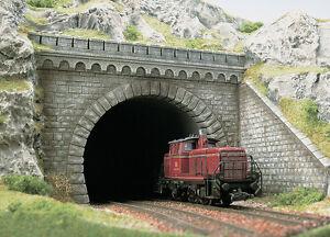 Busch-7023-scala-H0-Portale-tunnel-2-Gleisig-NUOVO-IN
