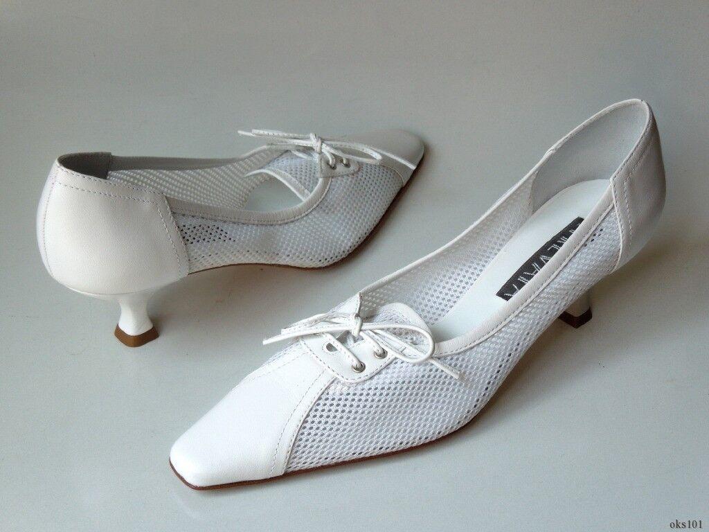 new 345 PREVATA 'Delco' WEISS Leder/mesh classic heels schuhe 9.5 -