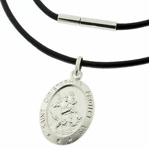Leather Necklace With Personalised 20mm Circular Silver St Christopher Pendant