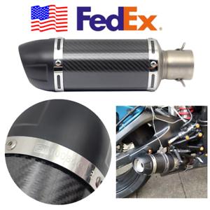 Silencer USA Universal Gloss Carbon Fiber Mini Motorcycle Muffler Exhaust Pipe