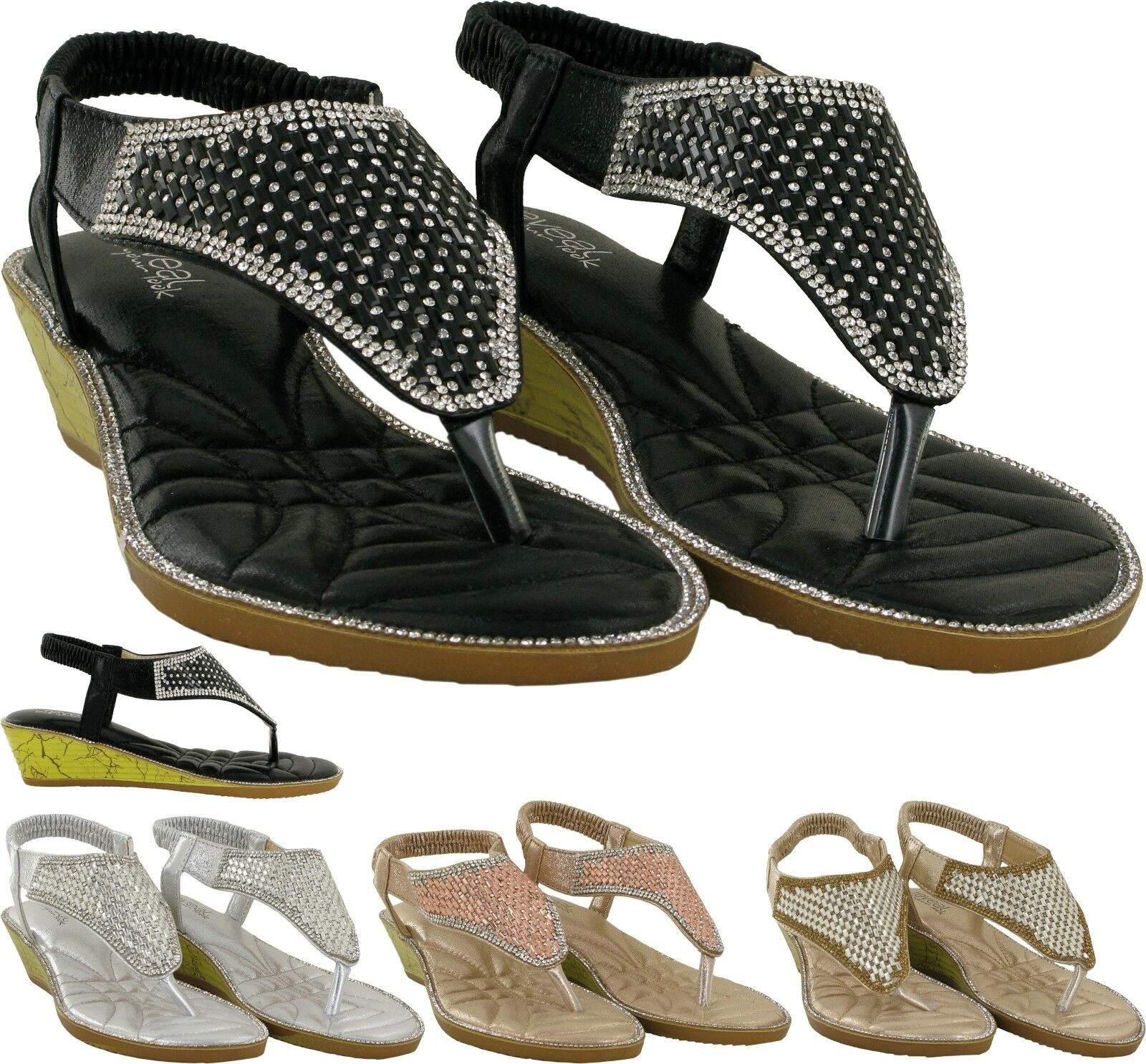 WOMEN LOW POST WEDGE HEEL SANDAL TOE POST LOW LADIES ELASTICATED SANDAL UK SIZES 3-8 93efbe