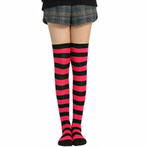 Sheer The Girl High Knee Socks Striped Thigh Stockings Over Size Plus Women/'s