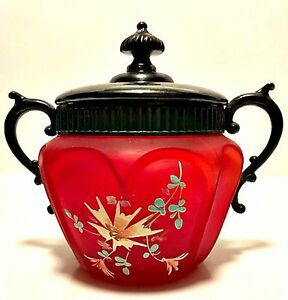 Antique-Victorian-Frosted-Cranberry-Red-Glass-Biscuit-or-Vanity-Jar-w-Metal-Lid