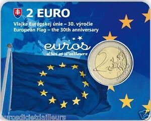 Coincard-2-euros-BU-SLOVAQUIE-2015-30eme-anniversaire-du-drapeau-europeen-BU