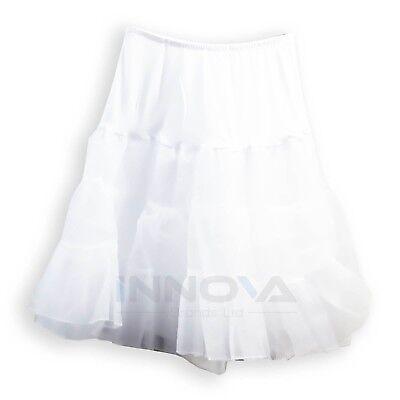 Damen Vintage 50's Unterrock Petticoat Rockabilly Swing Tutu Rock Weiß