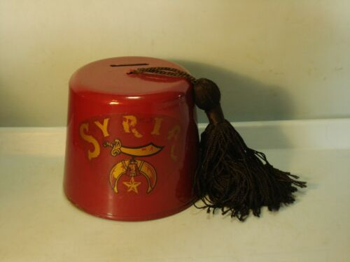 """Syria"" Fez Cast Steel Bank Shriners Hat Key Lock Trap USA 3 18"" Pristine"