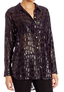 Equipment Daddy Metallic Cheetah-Print Shirt schwarz XS NWT