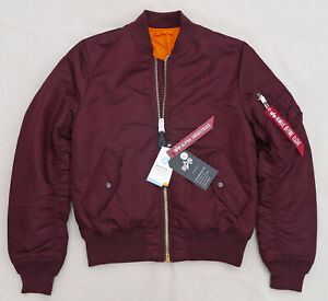 ALPHA-INDUSTRIES-MA1-Slim-Flight-Jacket-Bomber-Pilot-Reversible-Maroon-Men-Large