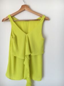Divaceous-Size-M-10-Dayglo-Yellow-Sleeveless-Polyester-Top-lt-T5330