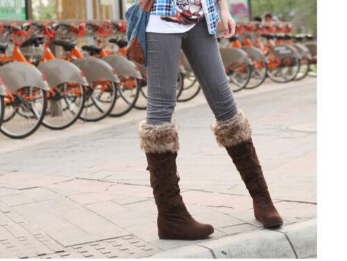 Women/'s Low Heels Faux Fur Warm Shoes Cross Straps Faux Suede Knee High Boots