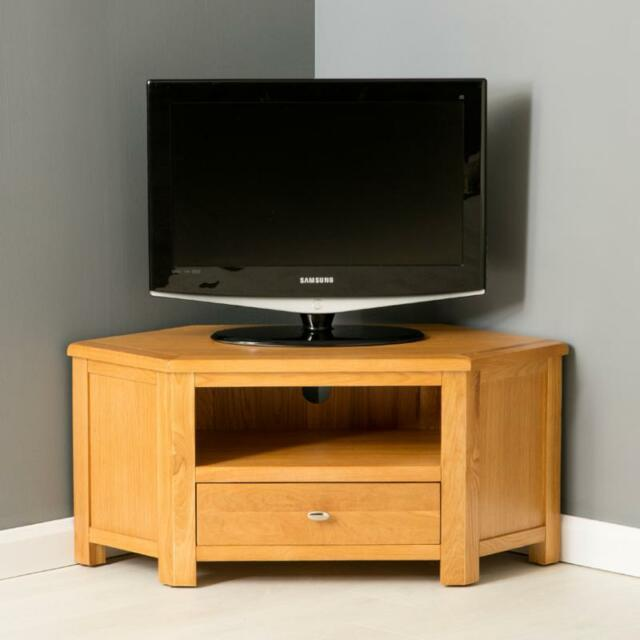 sports shoes 99dfa 82d07 Roseland Furniture Poldark Oak Corner TV Stand With Drawer Wood Brown