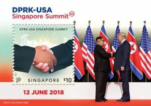 SINGAPORE-2018-DPRK-USA-TRUMP-KIM-SINGAPORE-SUMMIT-COLLECTOR-039-S-STAMP-S-SHEET