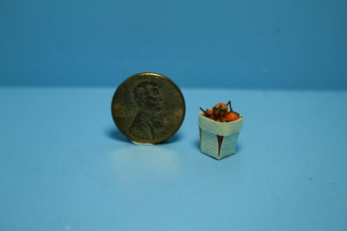 Dollhouse Miniature Vegetable Basket Filled with Cherry Tomatoes ~ A2288
