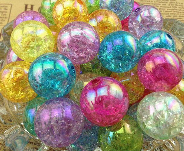 HOT!!10/50/100pcs 20mm AB Chunky Crack Beads Jewelry Pendant Bubblegum Necklace