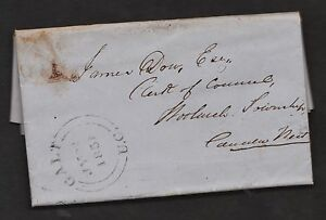 1851  No.1, damaged copy of 3d  Beaver. Galt, WAT to Woolwich. From a Newspaper