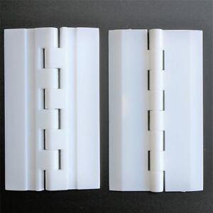 2x-Acryl-75mm-x-45mm-WEIss-Scharniere-Kunststoff-kontinuierlich-Klavier-Angel