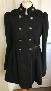 Ladies-River-Island-Grey-Smart-Button-Up-Trench-Coat-Size-10-B65