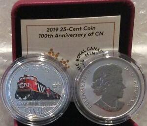 1919-2019-CN-Rail-100th-Anniversary-25-cent-35mm-Coloured-Coin-Canada