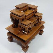 7 MINI NICE SET BUDDHA  WOOD THAI PCS STRONG WORSHIP TABLES ALTAR AMULET TEAK