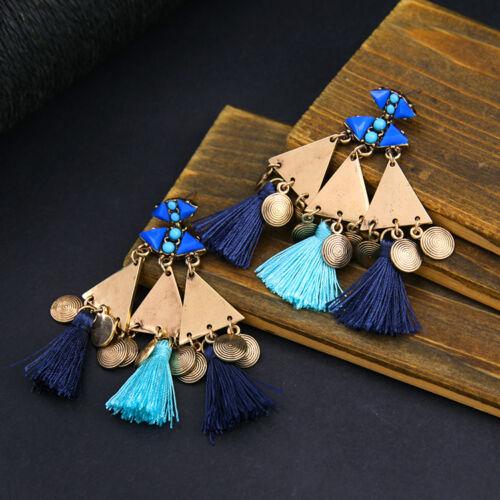 Boucles d`Oreilles CLIP ON Doré Chandelier Pompon Bleu Marine Ethnique Gros X18