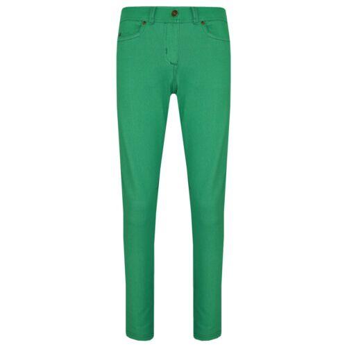 Le Ragazze Jeans Attillati Kids Verde Elasticizzato Denim Jeggings Fit Pants Pantaloni 5-13 ANNO