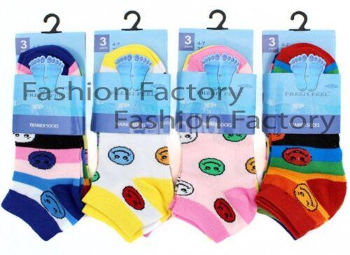 6 Pairs Women/'s  Ladies Smiley Design Trainer Liner Ankle Funky Socks UK 4-7