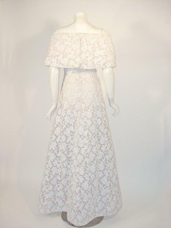 ARNOLD SCAASI White Floral Wedding Gown with Sequ… - image 4