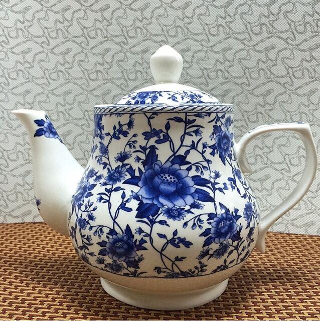 Chinese blue and white porcelain teapot handmade ceramic large capacity 1000ML