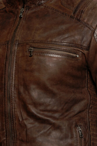 Biker Brown Racer Casual Leather Jacket Buff Men's Cafe 4pwY5qxT