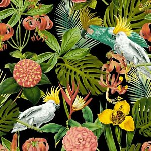 Birds-in-Paradise-Tropical-Scene-Black-Windham-100-Cotton-Fabric-by-the-yard