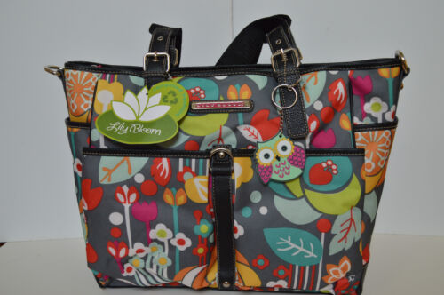 Lily Bloom Maya Canvas Print Tote Travel Diaper bag Bliss Owl New