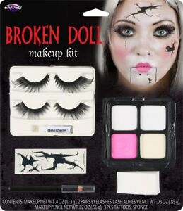 Halloween Demon Doll Makeup Kit Face Paint Eye Lashes Tattoo Horror FX Make Up
