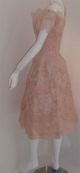 CEIL CHAPMAN 1950s Light Pink Lace Cocktail Dress - image 3