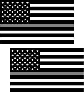 """12  2/"""" Thin SILVER Line Subdued American Flag Decal Sticker Corrections Guard RL"""
