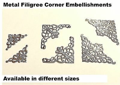 20pcs SILVER Filigree Metal Decorative Corner Embellishments, Wedding Craft