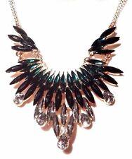 Gold green black art deco style rhinestone crystal bib necklace spike NEW NWT E2