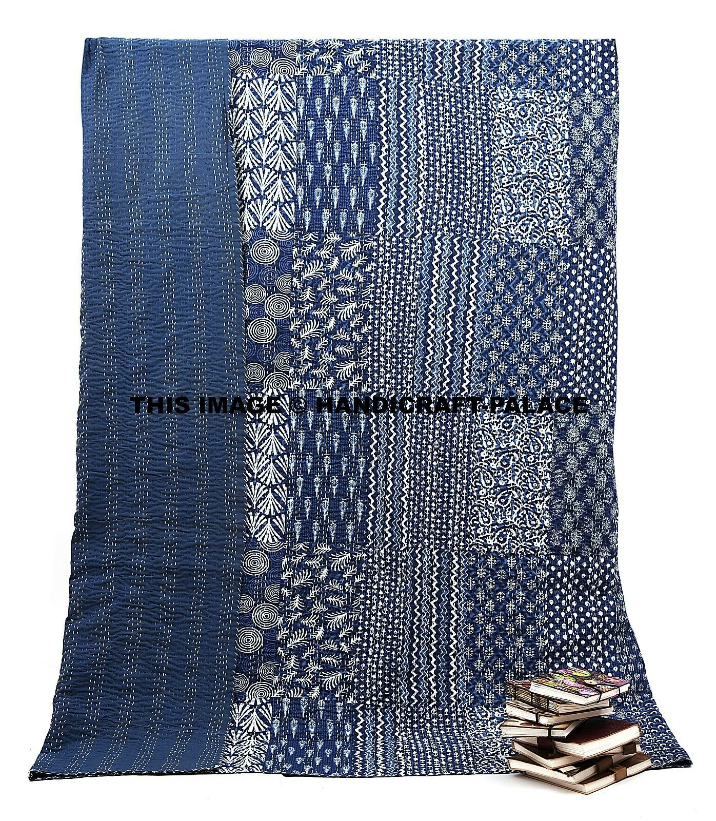 Kantha Quilt Indian Handmade Bed spread Queen Größe Patchwork Cotton Bed Cover