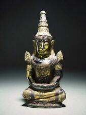 ANTIQUE PHRA HIN 'KRU HOD' QUARTZ CRYSTAL SEATED CROWNED BUDDHA RELIC 14/15th C.