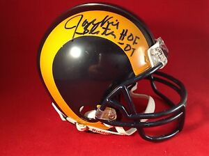 Jackie Slater Signed Los Angeles Rams Football Mini Helmet PSA With Insc *HOF 01